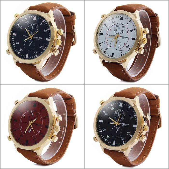 Shiweibao A1104 Analog Quartz Watch with Big Dial Nubuck Leather Band for Men