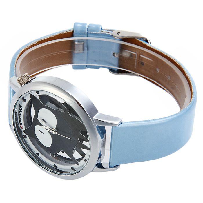 Shiweibao A7741 Cat Design Transparent Dial Quartz Watch Leather Strap for Women