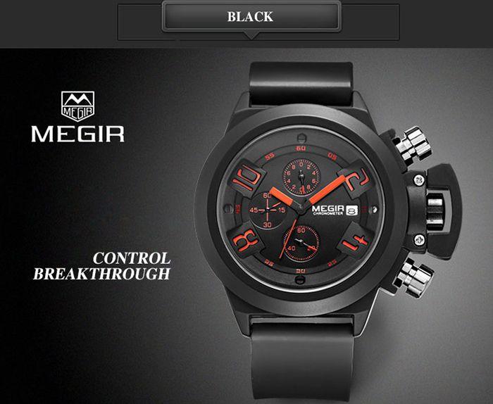 MEGIR 2002 Male Quartz Watch Date Display Silicone Band 30M Water Resistance