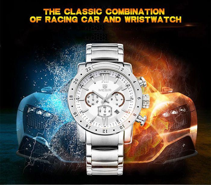 MEGIR 3008 Water Resistance Male Japan Quartz Watch with Date Display