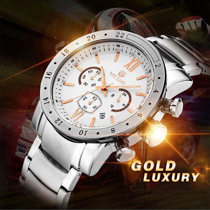 MEGIR 3008 Water Resistance Male Japan Quartz Watch with Date Display