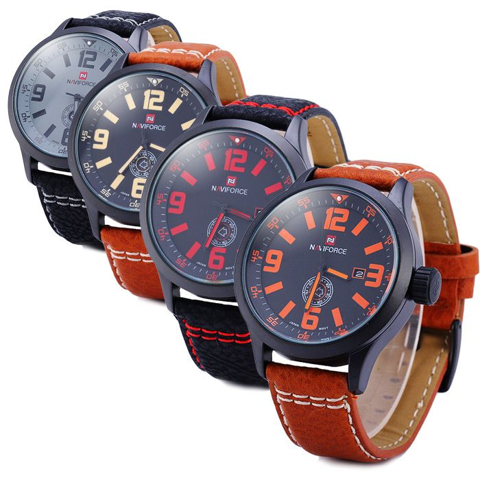 Naviforce 9057 Water Resistance Japan Quartz Watch Date Day Function Leather Band for Men