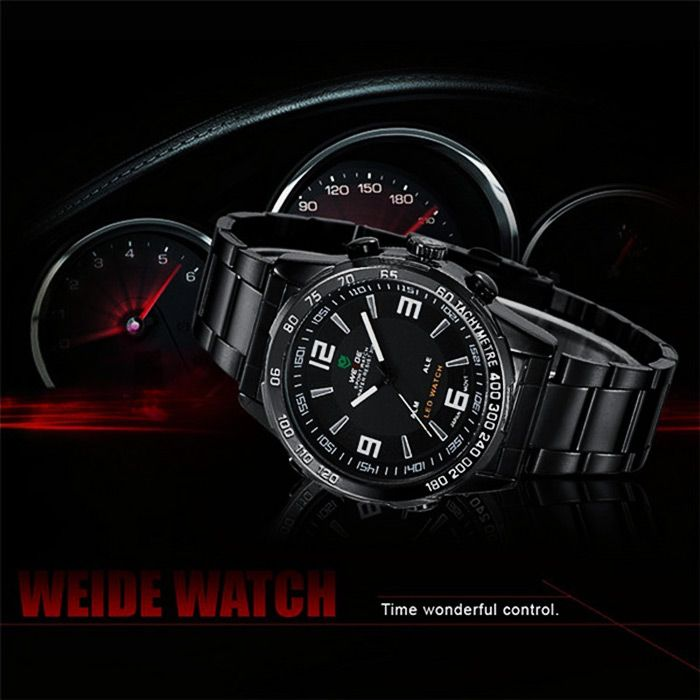 Weide WH1009 Double Movt Japan Quartz Military LED Watch Water Resistance for Sports