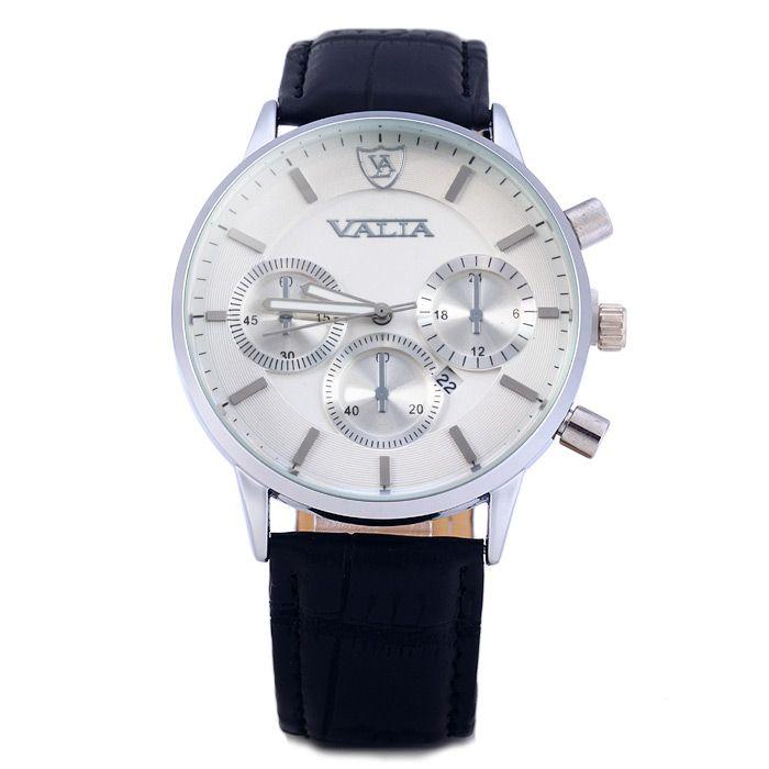 Valia 8281-2 Men Quartz Watch with Date Display Leather Strap Decorative Sub-dials
