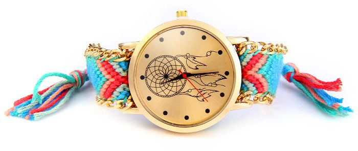 Woven Woolen Ladies Quartz Wrist Watch Wind Wheel Pattern Pull Cord Bracelet