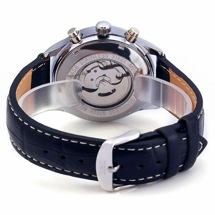 Jaragar A458 Men Leather Band Automatic Mechanical Watch with Three Working Sub-dials