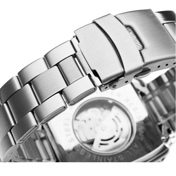 Jaragar Men Automatic Mechanical Watch with Working Sub-dials Stainless Steel Strap