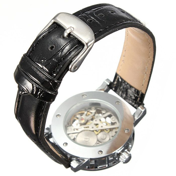 Winner Double-sided Hollow Out Men Leather Strap Mechanical Watch