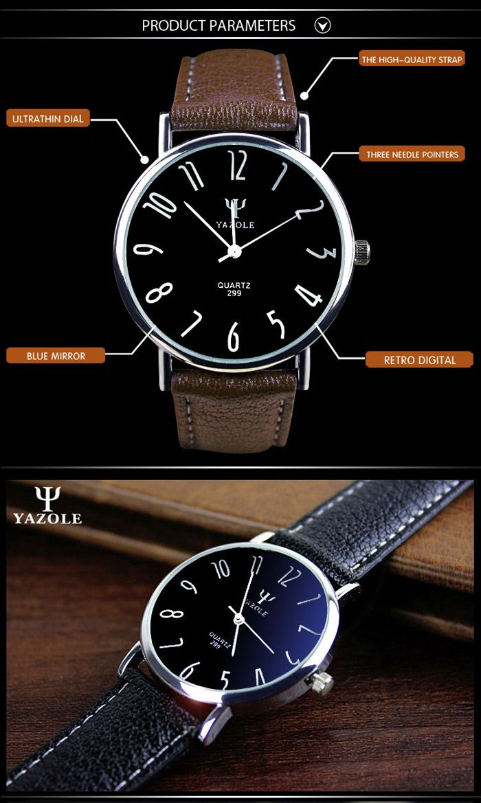 Yazole 299 Business Quartz Watch with Leather Band for Men