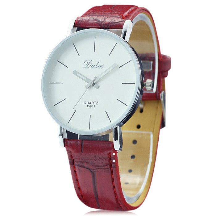 Dalas F011 Simple Women Quartz Watch with Leather Watchband