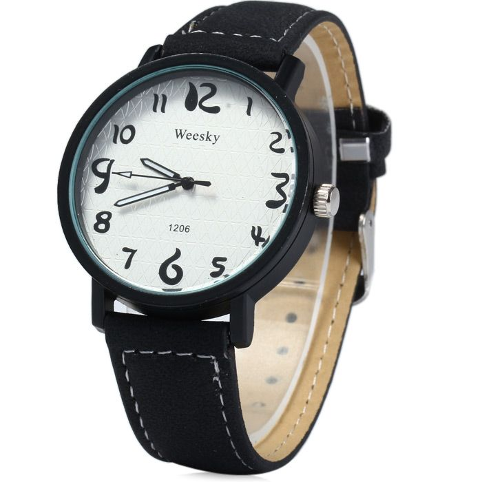 Weesky 1206 Arabic Numerals Scales Male Quartz Watch with Leather Band