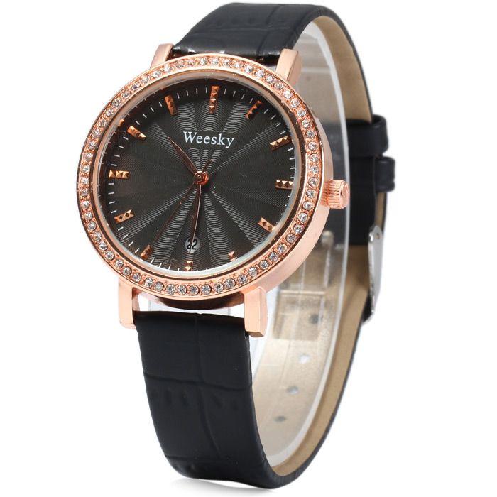 Weesky 1212G Golden Case Diamond Quartz Watch with Date Display for Women