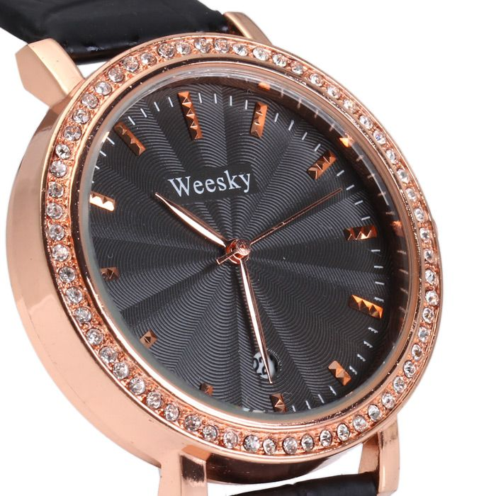 Weesky 1212G Golden Case Diamond Quartz Watch with Date Display for Women