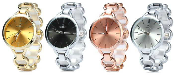 Kingsky 2693 Water Resistant Women Japan Quartz Watch with Stainless Steel Band IP Plating Case