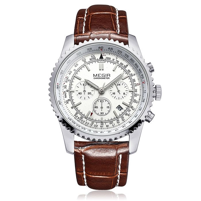 MEGIR 2009 Genuine Leather Strap Water Resistant Male Japan Quartz Watch with Date Display