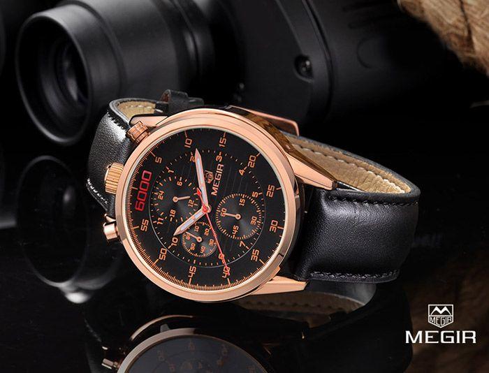 MEGIR 3005 Genuine Leather Strap Water Resistant Male Japan Quartz Watch with Luminous Analog Working Sub-dials