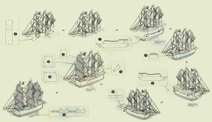 Boat Laser Cutting Model 3D Jigsaw Metallic DIY Toy