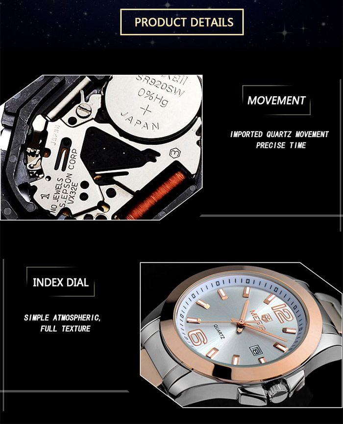 MEGIR 5006G Date Display Male Japan Quartz Watch with Stainless Steel Strap 30M Water Resistance