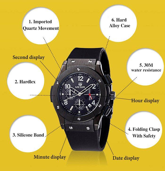 MEGIR 3002 Water Resistant Men Japan Quartz Watch with Silicone Strap Date Function
