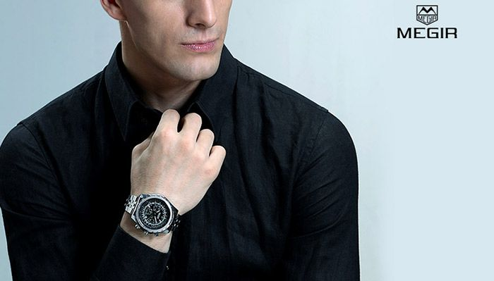 MEGIR 2009 Male Japan Quartz Watch with Date Display Luminous Pointer