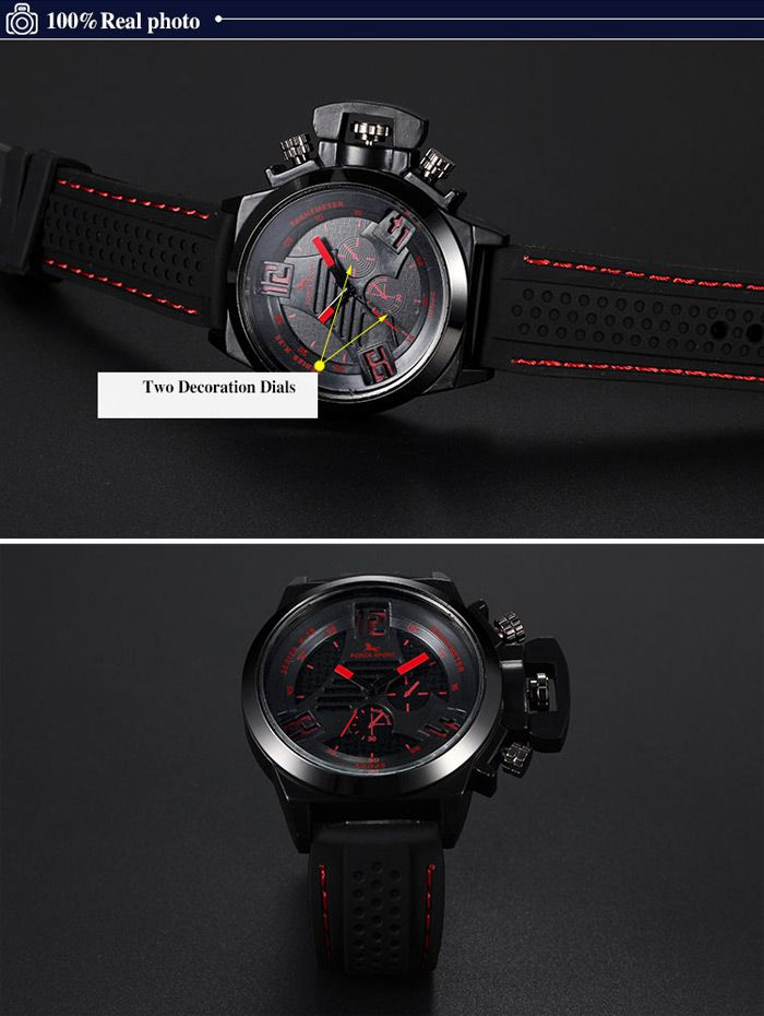 FORZA SPORT 2497 Japan Quartz Watch with Decorative Sub-dials Luminous Pointers Silicone Band for Men