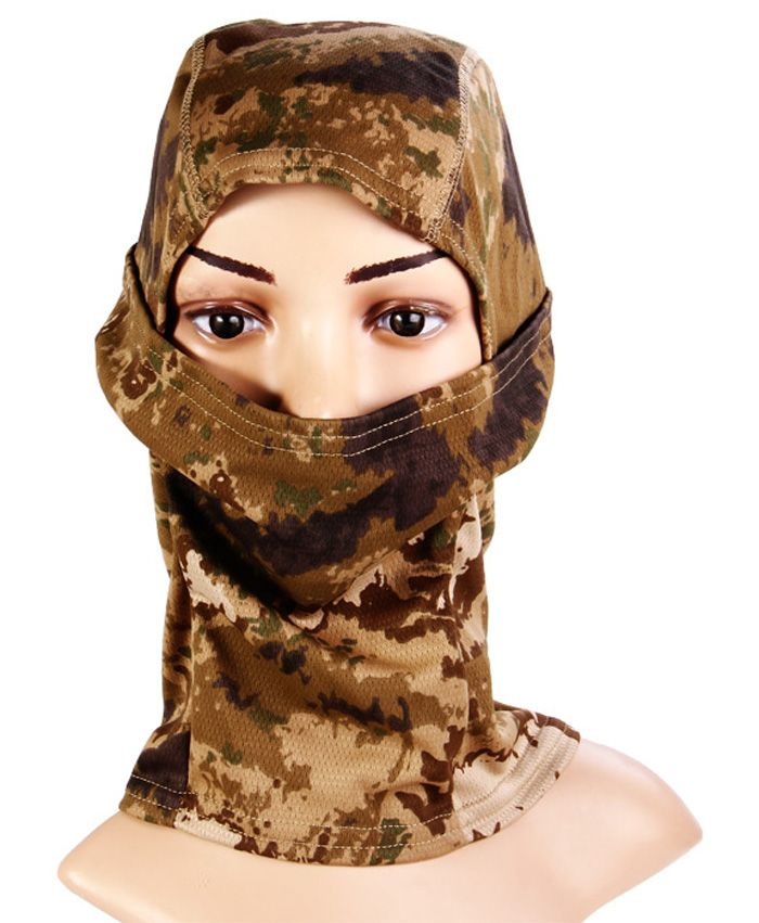 Multi Use Camouflage Pattern Wrapped Head Cap Mask For