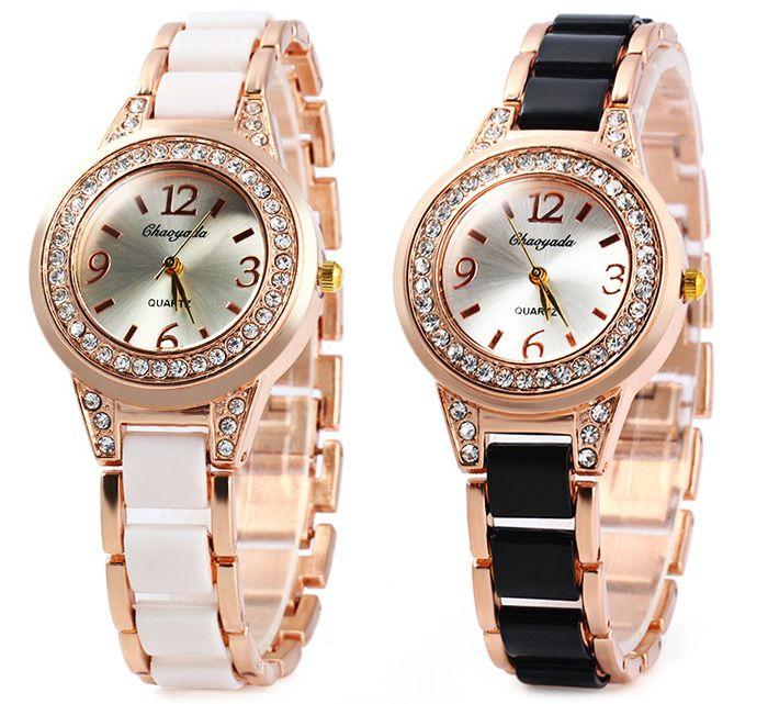 Chaoyada Female Diamond Quartz Watch Steel + Plastic Strap
