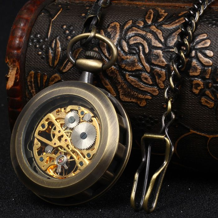 Hollow Out Style Mechanical Pocket Watch Chain Table
