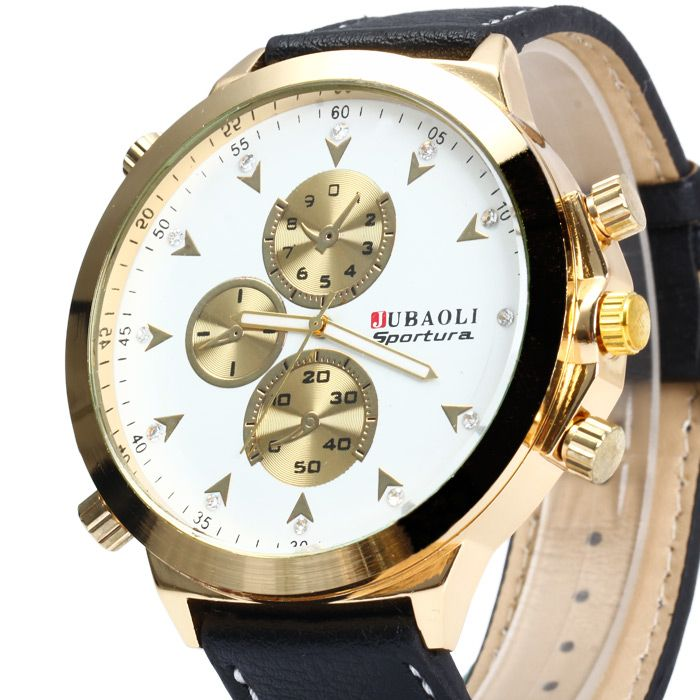 Jubaoli Diamond Scale Big Dial Quartz Watch with Leather Band for Men