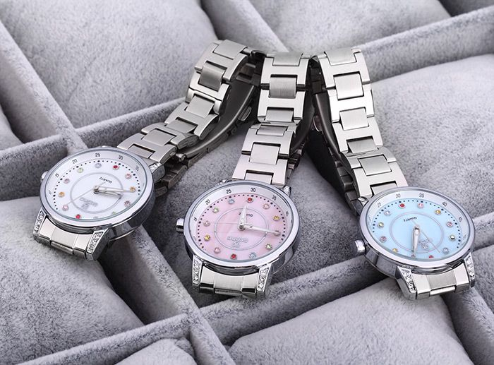 SKONE 7317 Colored Diamond Scale Women Quartz Watch Shell Dial