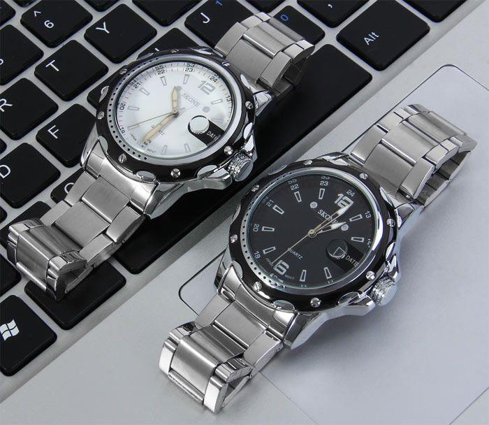 SKONE 7147 Calendar Men Quartz Watch with Date Display Luminous Pointer Steel Strap