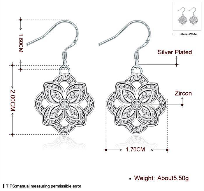 Trendy Floral Shape Zircon Design Silver Plated Ladies Drop Earrings