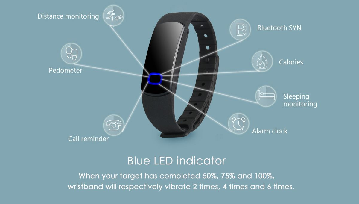 SH08 Smart Watch Bluetooth Wristband with Blue LED