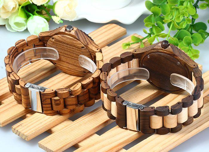 BEWELL ZS - W023A Men Wooden Bangle Quartz Watch with Calendar Display