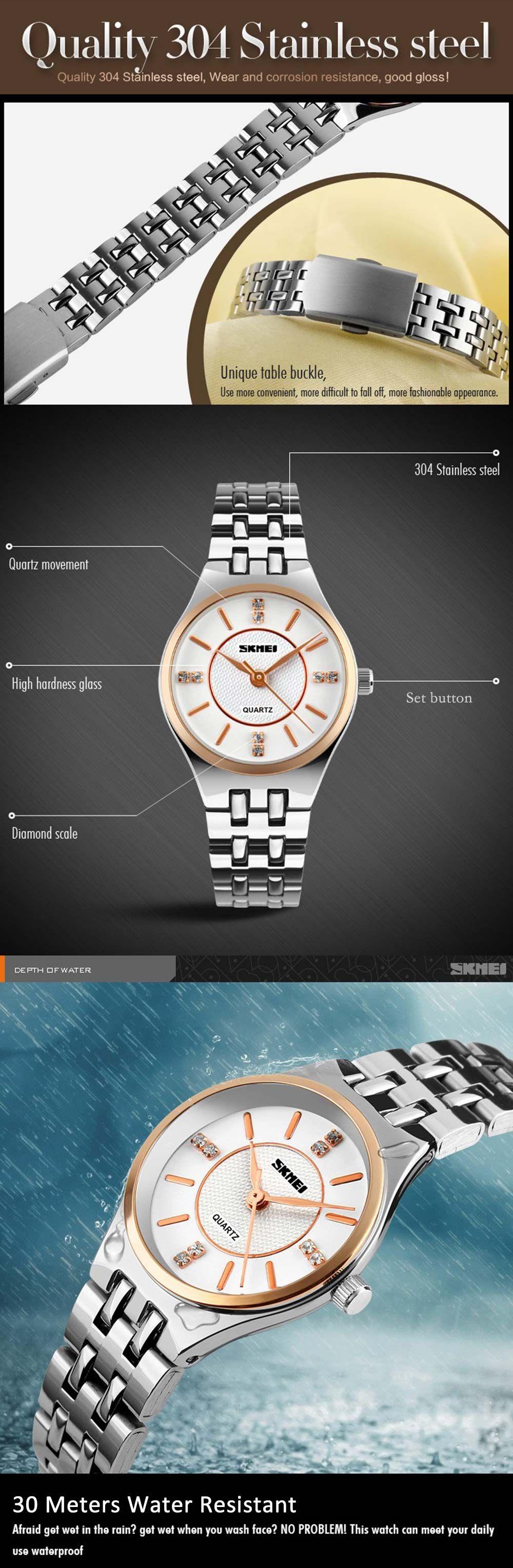 Skmei 1133 Female Quartz Watch Round Dial Steel Band 30M Water Resistant