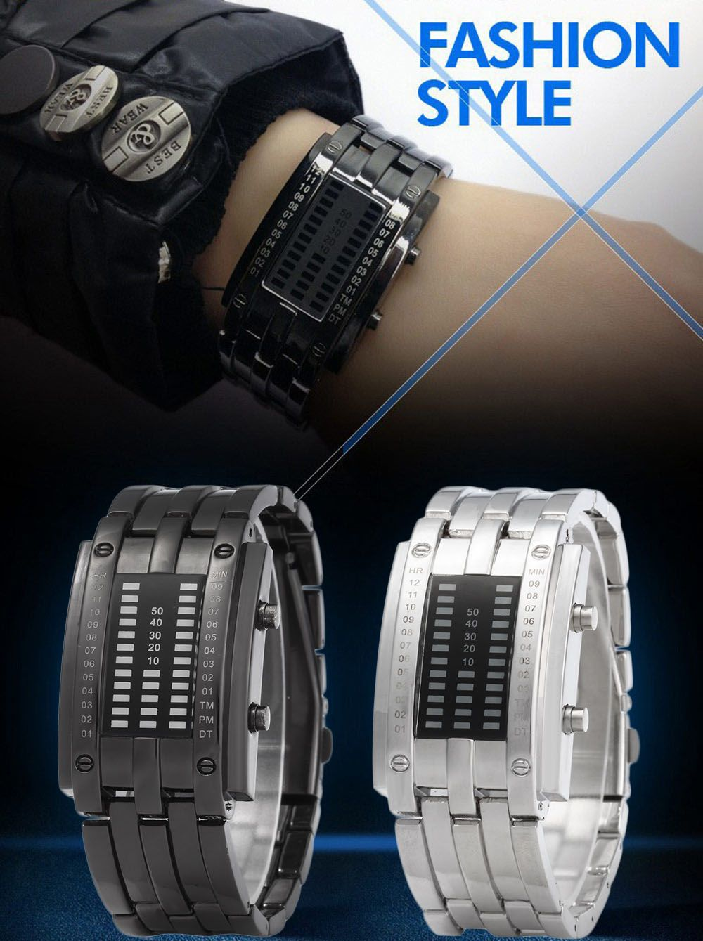 Women Date Digital LED Bracelet Watch Rectangle Dial