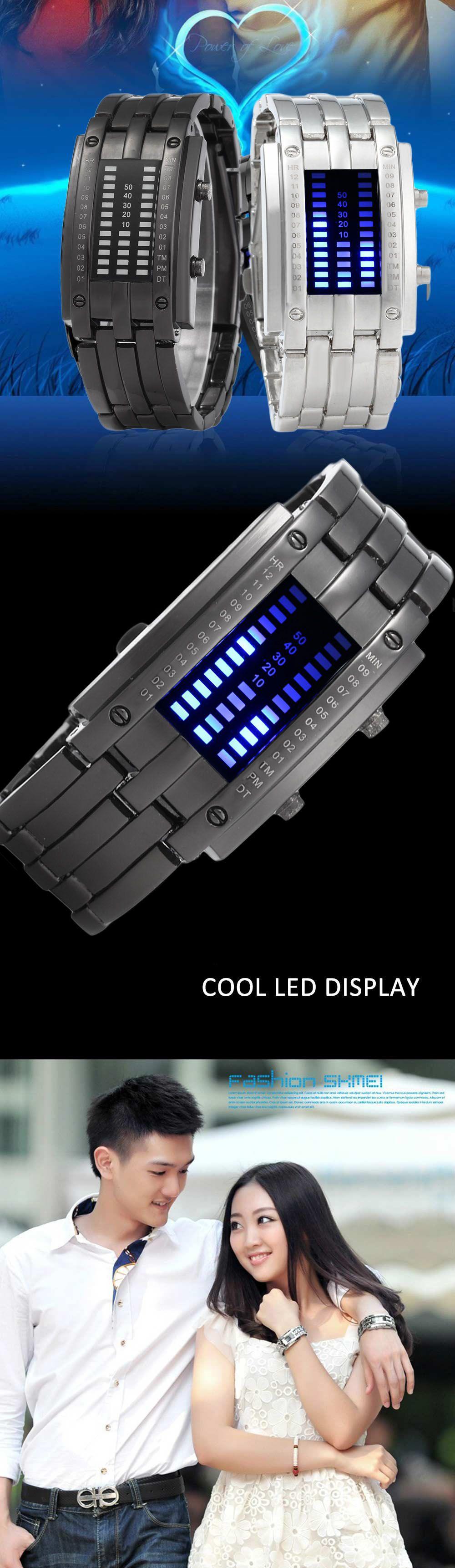 Women Date Digital LED Bracelet Watch Rectangle Dial