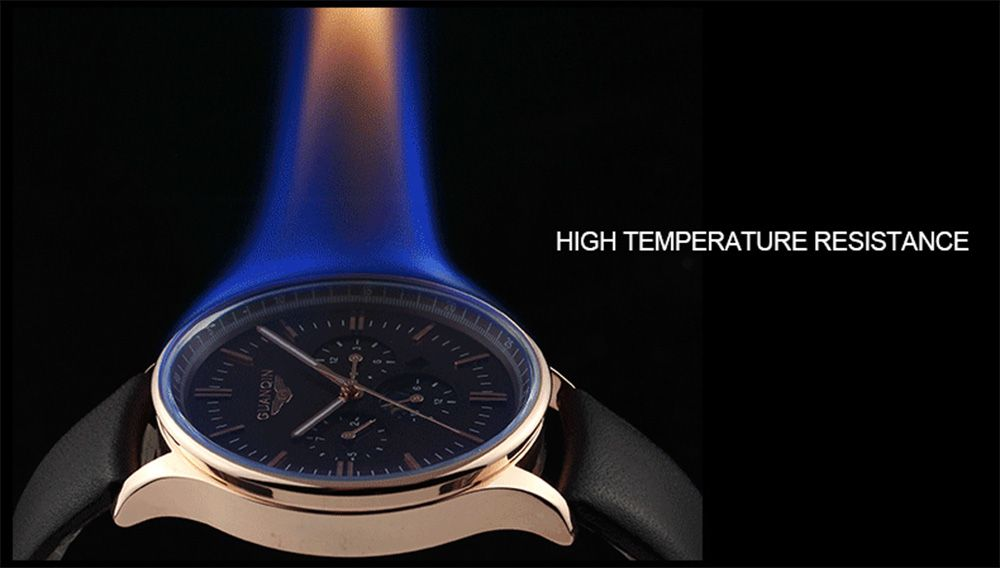 GUANQIN Men Leather Quartz Watch with Calendar Display Moving Three Sub-dials