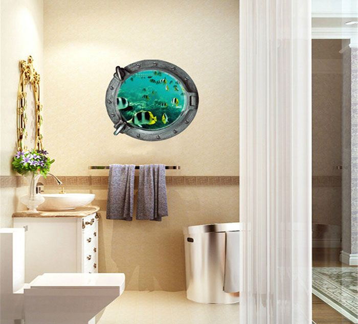 3d underwater world and fish style removable pvc wall stickers colorful room window decoration for Decoratie wc