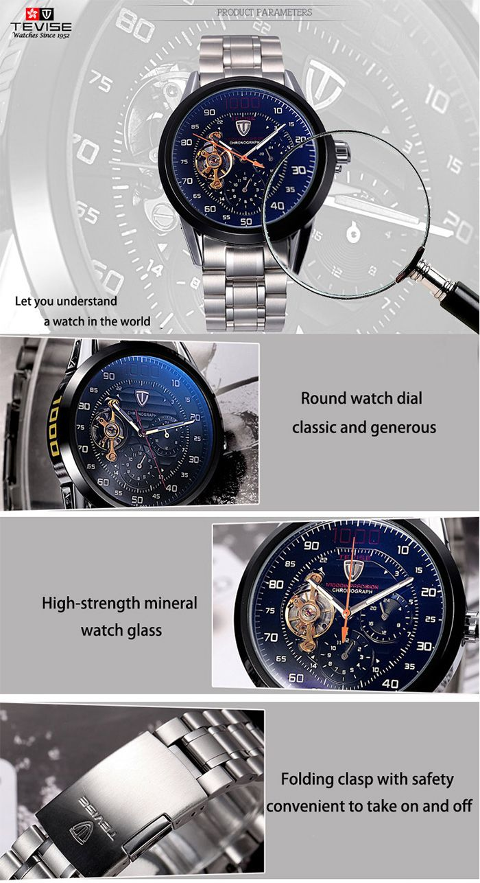 Tevise 8378 Men Analog Tourbillon Automatic Mechanical Watch Working Sub-dials Stainless Steel Body