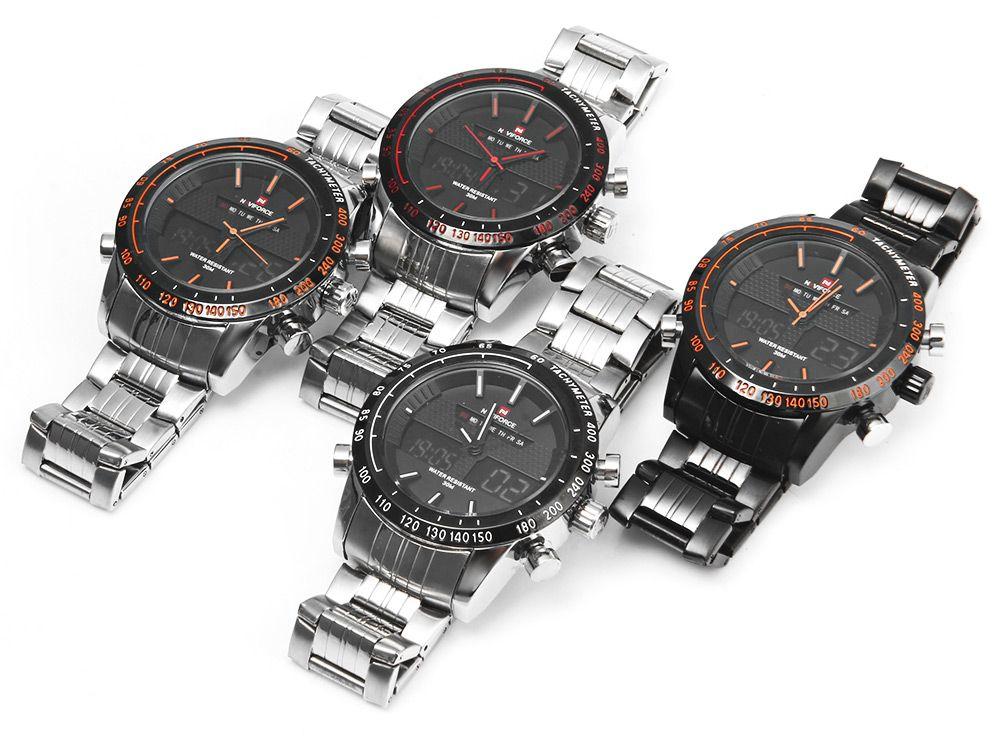 NAVIFORCE NF9024 Dual Movt Men Quartz Watch Analog Digital LED Wristwatch Calendar Watches Stainless Steel Strap