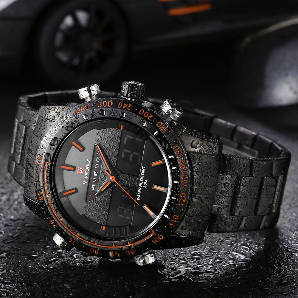 NAVIFORCE NF9024 Dual Movt Men Quartz Watch Analog Digital LED Wristwatch Calendar Watches Stainless Steel Strap