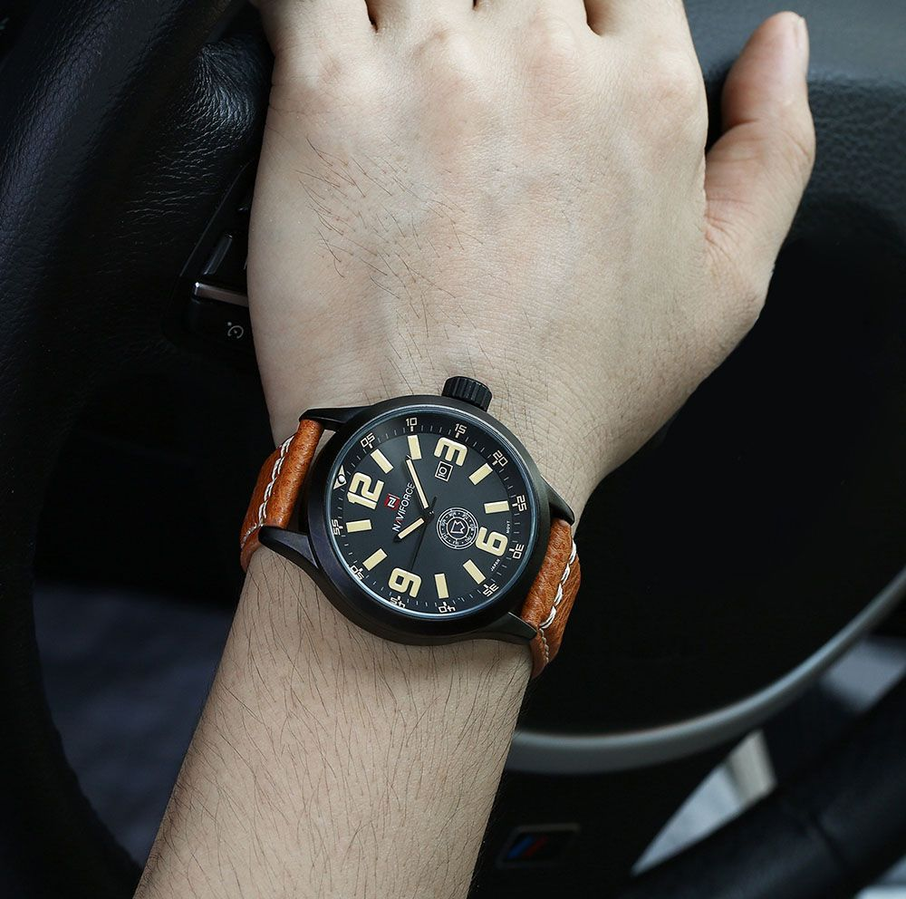 NAVIFORCE NF9057 Men Quartz Watch Analog Wristwatch Date Watches PU Strap