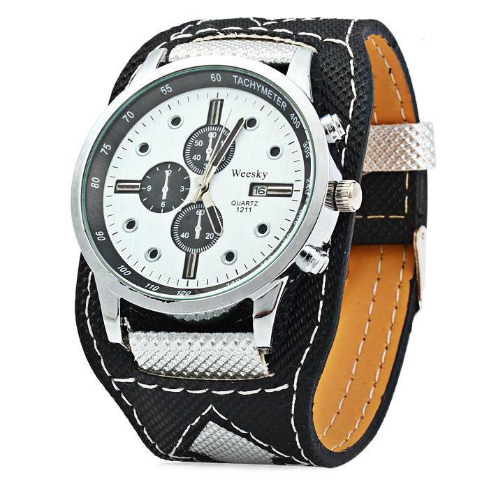 Weesky 1211 Canvas + Leather Band Quartz Watch for Men