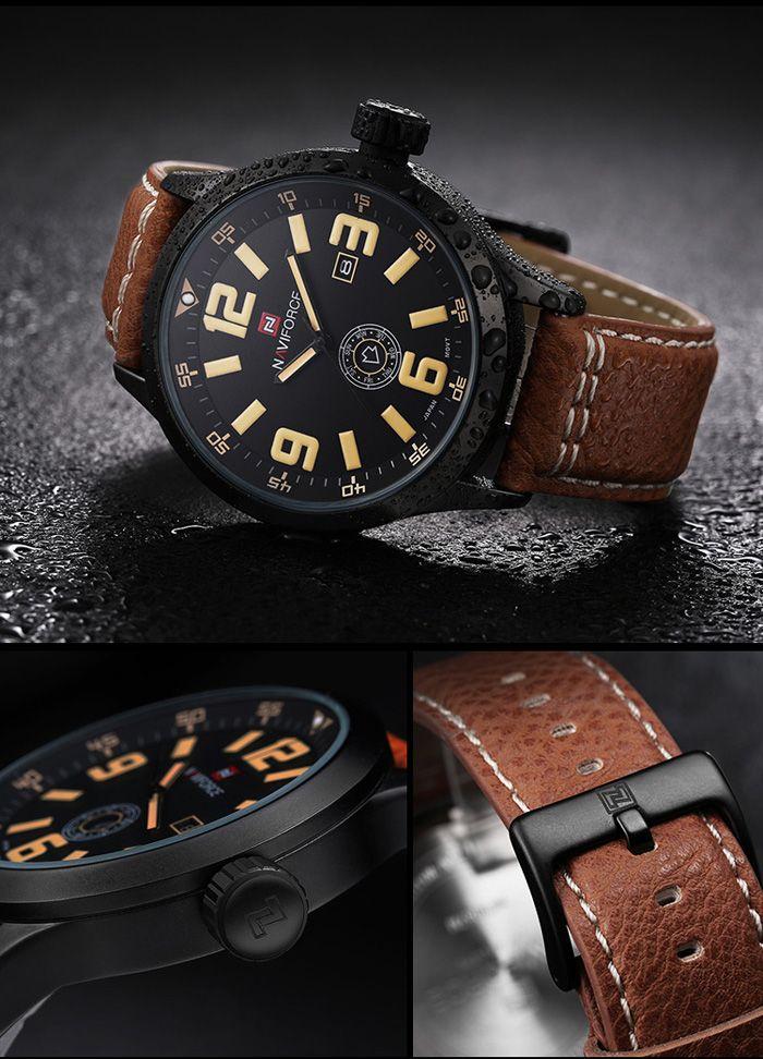 Naviforce 3682 Men Quartz Watch with Day Date Display