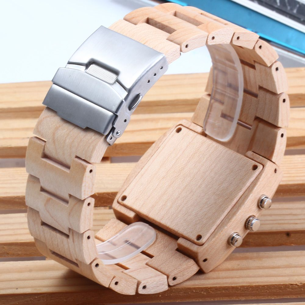 BEWELL ZS-W021A Bamboo Wooden Men Quartz Watch with Double Movement Luminous Display