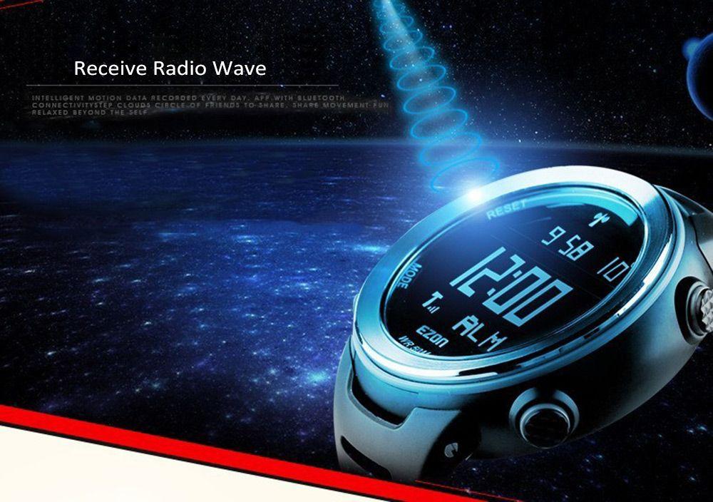 EZON L002 Radio Wave Calibrate Time Digital Men Sports Watch World Time Countdown Timer
