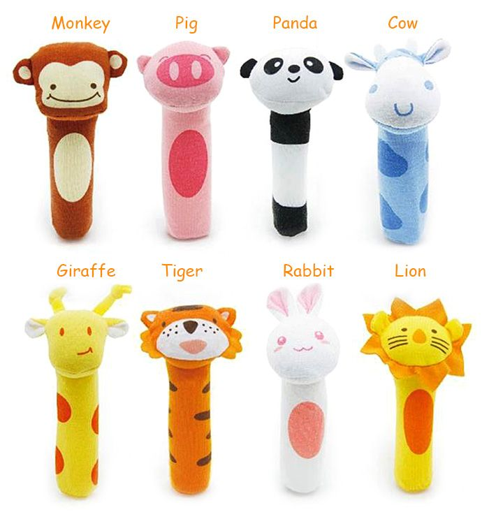 BT2048 Lion Model Handbell Newborn Toy Plush Squeeze Rattle Cute Gift Baby Toy