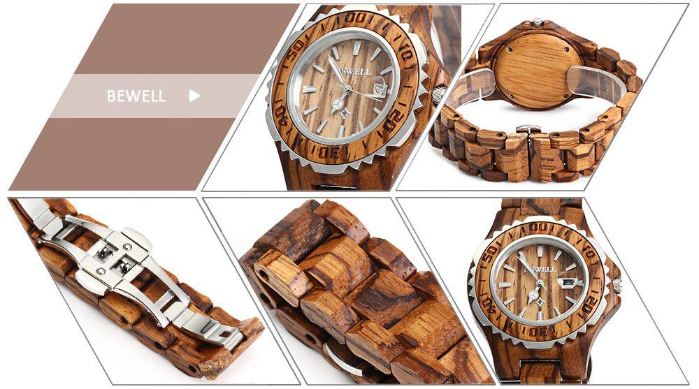 BEWELL ZS-100BL Wooden Women Quartz Watch with Luminous Hands Metal Case 30M Water Resistance