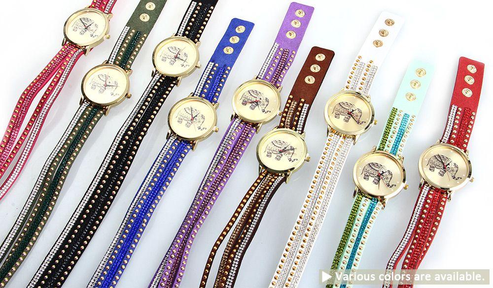 Women Wrist Quartz Watch Elephant Rivet Bracelet Braided Winding Wrap